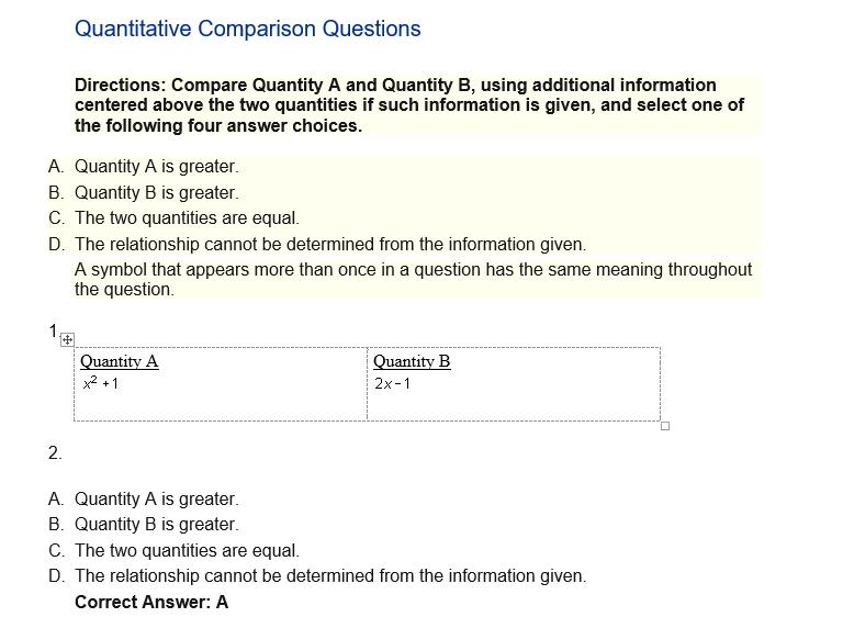 Quantitative Comparison Questions