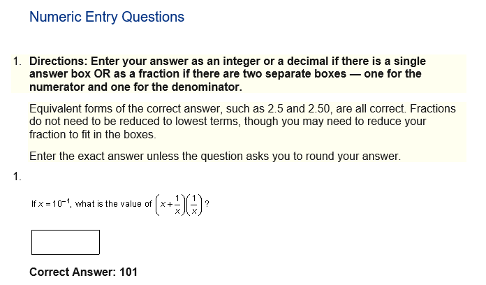 Numeric Entry Questions